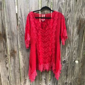 Johnny Was Embroidered Eyelet Blouse